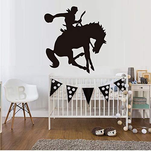 (Mhdxmp Western Reiter Reiten Pferd Wandaufkleber Kinderzimmer Vinyl Abnehmbare Sattel Oben Silhouette Diy Wohnkultur Schlafzimmer Wandtattoo Schablone 41 * 44 Cm)
