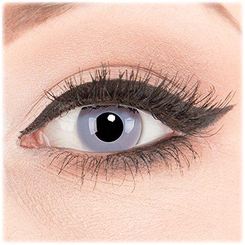 Farbige Kontaktlinsen zu Fasching Karneval Halloween 1 Paar Crazy Fun weiße graue 'Zombie Grey' mit Behälter in Topqualität von 'Glamlens' ohne Stärke