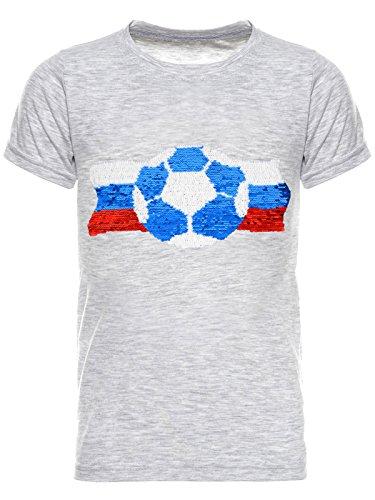 BEZLIT Jungen WM Russia 2018 Fußball Fan T-Shirt Wende-Pailletten Russland Shirt 22736 Grau Größe 128