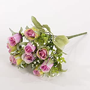 5 Ast da Flowers Bouquet artificiale di seta rosa Rosebud Wedding Decor, 1 mazzo di fiori, viola chiaro