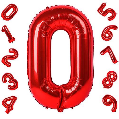 42 Pulgadas Grandes Globos Rojos Números 0, Jumbo Foil Helio Globos Digitales para Cumpleaños Fiesta de Aniversario de Boda Festival Decoraciones