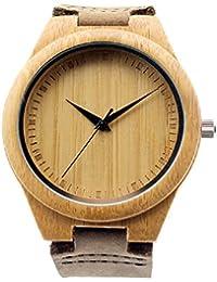 Mercimall BAB-01 hecho a mano de madera natural del reloj unisex con correa japoneses movimiento de cuarzo reloj de cuero