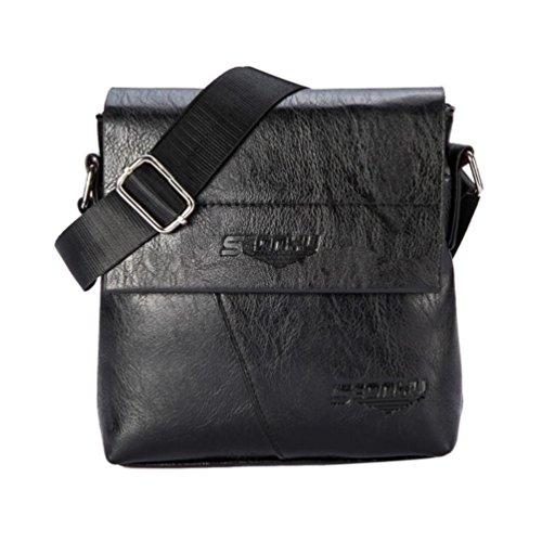 LETTER® Männer Geschäft Handtasche Schulter Tasche Tote Flap Tasche Schwarz