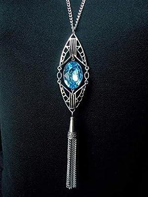 Pendentif cristal ovale Art Déco, rouge, bleu, bijoux Swarovski