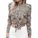 SEWORLD 2018 Damen Mode Sommer Herbst Frauen Chiffon Blumen Aufflackern Hülse Kurze Bogen Shirt Leopard Drucken Top Bluse Crop(A-Weiß,EU-46/CN-2XL)