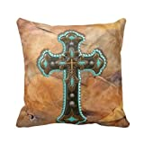 Best Malouf Latex Pillows - Leaveland Turquoise And Brown Cross On Leather Print Review