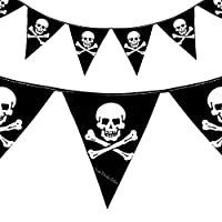 Pirate Skull Crossbones Bunting Flags Party Decoration - 12Ft - Kids Happy birthday party pirates of the Caribbean accessory theme Special Occasion (1 Set of Flags)