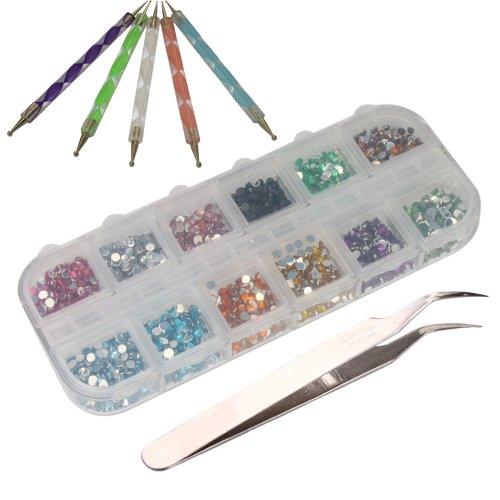 TOOGOO (R) 3000 Stueck 2mm 12 Farben Nagel Kunst Glitter Strass Tipps + 5 x 2-Kanal Marbleizing Punktierung Pinsel + Pinzette (Kanal Pinsel)