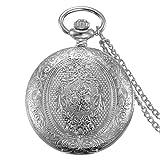 JewelryWe Reloj de Bolsillo Cuarzo, Floral Retro Vintage con Cadena Larga 80cm, Plateado Buen Regalo para Hombre Mujer