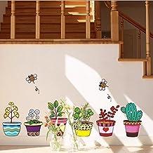 Maceta Plantas Abejas adhesivo para pared adhesivo de Home de PVC Casa Vinilo decoración de papel pintado salón dormitorio cocina Lienzo DIY murales Girls Boys Kids Nursery Baby sala de juegos decoración