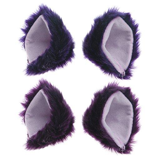 Autone Fellohren mit Haarspangen, Fuchs / Katze, Verkleidung für Cosplay, Halloween oder Party, Purple&Pink
