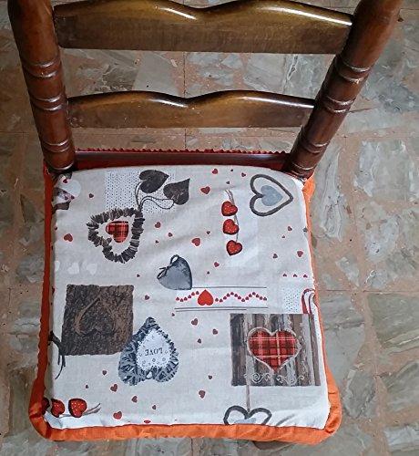 N.6 cuscini coprisedia quadrati universali sfoderabili con zip shabby chic cuore arancione