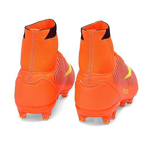 BOLOG Größe EU35-42 Fußballschuhe AG Spike Microfaser Cleats Beruf Athletics High Top(fußballschuhe mit socken) Orange