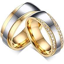 Blisfille 2 Piezas Anillo Oro Blanco con Diamantes Acero Inoxidable de Cúbicos Zirconia Banda de Boda