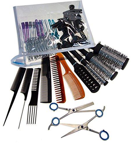 Kit parrucchiere professionale   set 133 pezzi per capelli   forbice 17cm, sfoltitrice 15cm, 4 spazzole, 6 pettini, 12 pinze, 108 becchi di cicogna (96 + 12 colorati), borsa trasparente   by cdd
