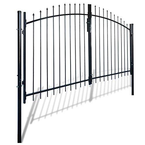 Furnituredeals le portail Portail double porte surmonte de piques 300 x 200 cm porte double