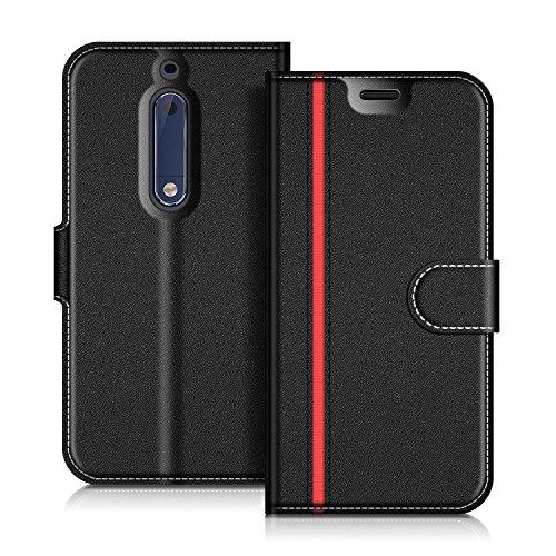 Coodio Nokia 5 Hülle Leder Lederhülle Ledertasche Wallet Handyhülle Tasche Schutzhülle mit Magnetverschluss / Kartenfächer für Nokia 5, Schwarz/Rot