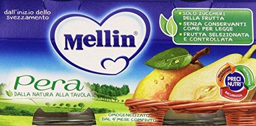 Mellin - Omogeneizzato, Pera - 12 confezioni da 2 pezzi da 100 g [24 pezzi, 2400 g]