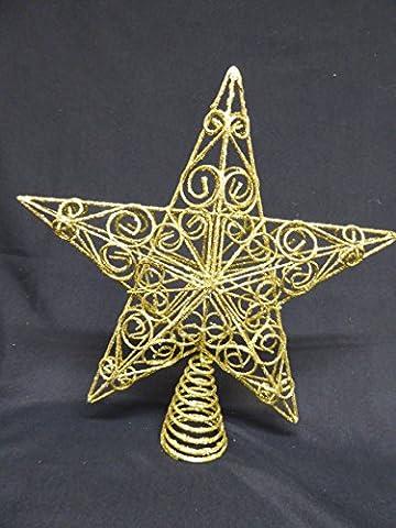 Weihnachtsschmuck–30cm groß gold glitter star wirbelt Christbaumspitze