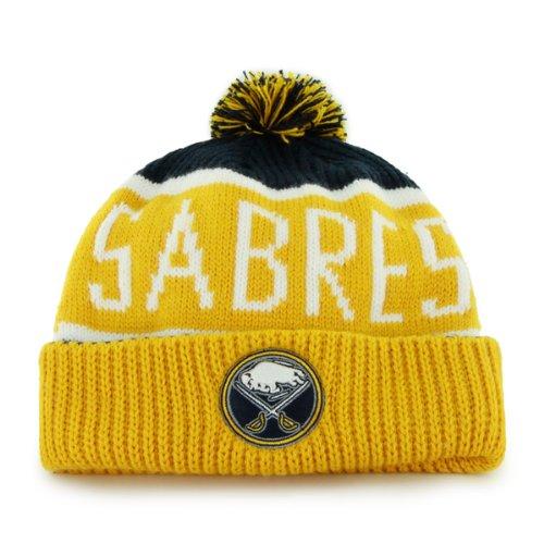 47 Brand Calgary Cuff Beanie Mütze mit POM POM - NHL Hockey Cuffed Winter Strick Mütze Toque Cap, Herren, Buffalo Sabres