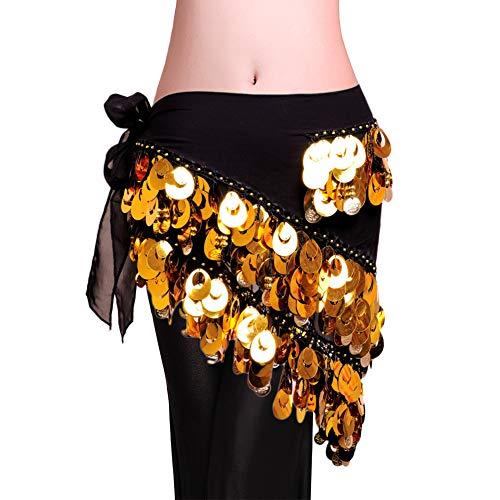 ROYAL SMEELA Bauchtanz Hüfttuch Kostüm für Frauen Tanz umhüllt Rock Flamenco Zigeuner Gold Silber Münze Dreieck Hüften Schals ()