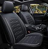 Fashion Style Autositzbezug, Winter Ledersitze Auto, PU-Leder-Und 3D-Atmungsaktiv, Voll Umgeben Unisex Sitz,Weiß