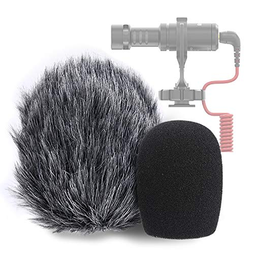 YOUSHARES Videomic Me-L - Filtro pop e protezione antivento, in schiuma e pelliccia per microfono Rode VideoMicro Mini Shotgun