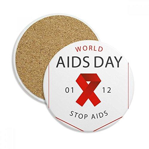 - Welt-AIDS-Tag Stop HIV Bewusstsein Stein Drink Keramik Untersetzer für Tasse Geschenk 2 -