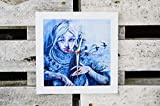 Wanduhr/Graffiti / Mädchen mit Kontrabass/Uhr / Pop Art/Graffiti / Quadrat/Foto auf Holz