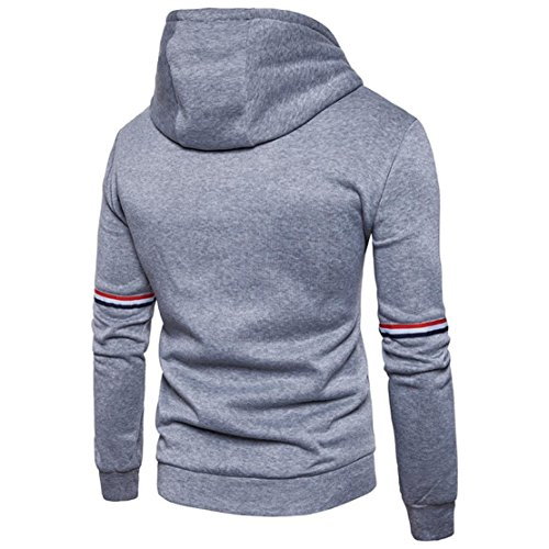 Bluestercool Felpe Uomo Cappuccio Con Zip Giacca Uomo Invernale Cotone Casual Sweatshirt Grigio
