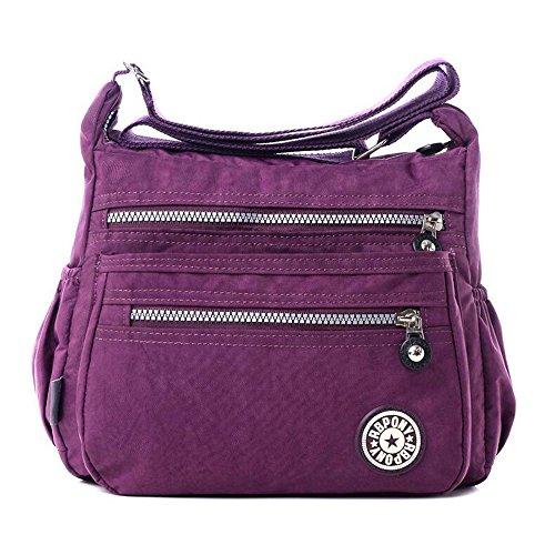 Women's Casual Multi Pocket Nylon Messenger Bags Cross Body Shoulder Bag Travel Purse (Purple)