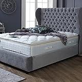 The Luxury Bed Co. Chesterfield Winged Bettgestell mit Kopfteil, luxuriös und –, Leben, strapazierfähig, Schlafzimmer, Möbel, Hessink Seal Grey, Double 132