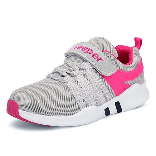 Yeeper Kinder Schuhe Sportschuhe Turnschuhe Wanderschuhe Kinderschuhe Sneakers Laufen Sport Schuhe Laufschuhe Für Mädchen Jungen Ultraleicht Atmungsaktiv Rutschfest Grau/Pink 32EU