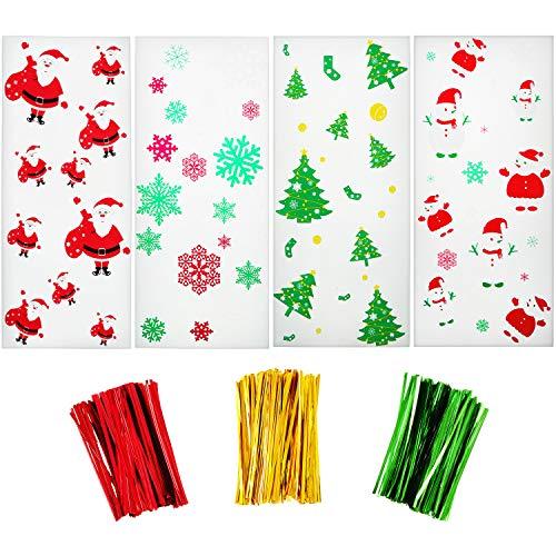 Boao 200 Stück Weihnachten Cellophan Behandeln Taschen Klar Süßigkeitstaschen mit Schneeflocke Schneemann Weihnachtsmann Weihnachtsbäume Muster und 300 Stück Drehung Krawatten für Weihnachtsfeier