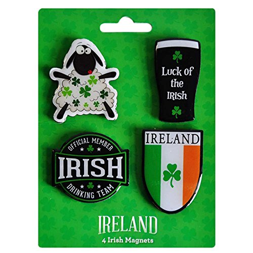 4 Pack Of Magnets Irish Tri Colour, Irish Drinking Team Member, Pint And Sheep -