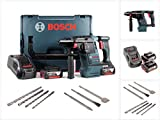 Bosch GBH 18 V-26 Akku Bohrhammer Professional SDS-Plus in L-Boxx mit 2 x GBA 5 Ah Akku und GAL 1880 CV Ladegerät + Bohrer und Meißel Set