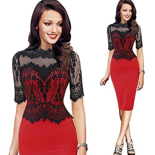 Cocktailkleid,DOLDOA Frauen O-Ausschnitt Spitze Spleißen Kurzarm Knielang Kleid Bleistiftkleid (EU:36, Rot,O-Ausschnitt Spitze Spleißen Bleistiftkleid) (Öse-spitzen-bh)
