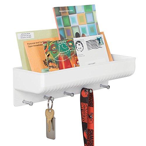 mDesign Etagère range-courrier, support à clés mDesign pour l'entrée ou la cuisine - Installation murale, blanc