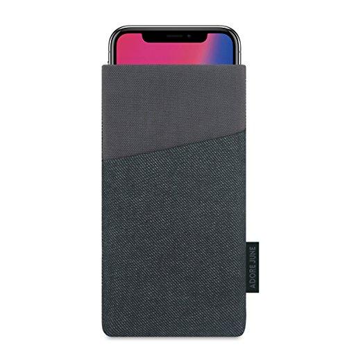 Adore June Apple iPhone XS und iPhone X Hülle, [Serie Clive] Handytasche mit Extrafach [Display-Reinigungseffekt] Tasche für Apple iPhone X/XS Case Sleeve [Schwarz/Grau]