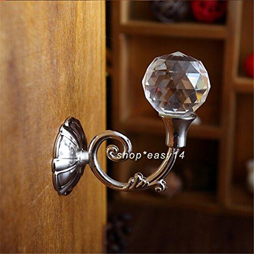 EMOTREE 4 Stk. Gardinenhalter Kristall Glas Kugel Raffhalter Vorhanghalter Gardine Haken (Silber)
