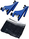 Relaxdays Metal Table Tennis Net Ping Pong Net with Screw-In Table Clamps Size: 19.2 x 23.5 cm, Table Tennis Equipment Accessories Outdoor Net, Blue
