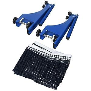 Relaxdays Tischtennisnetz m. Feststellschrauben, Outdoor Ping-Pong-Garnitur, H x B x T: 19,2 x 173 x 5 cm, blau-schwarz