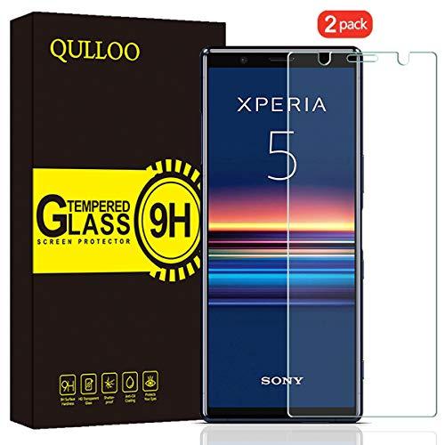 QULLOO Verre Trempé pour Sony Xperia 5 Protection Écran Film Protection Anti Rayures Ultra Résistant Dureté 9H Protecteur D'écran pour Sony Xperia 5-2 Pièces