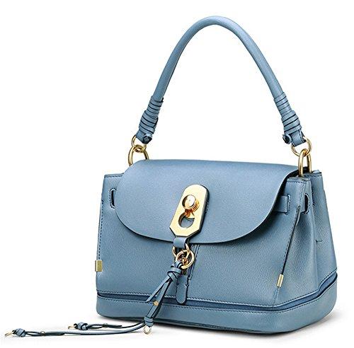 Xinmaoyuan Borse donna borsa donna in pelle Borsetta tracolla flusso di cucitura pacchetto Sutot Large-Capacity retrò sezione orizzontale colore puro Pallet sacchetto,blu Blue