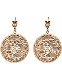 IGP Gold Plated Round Jaali Work Stainless Steel Dangler Fashion Earrings For Women And Girls