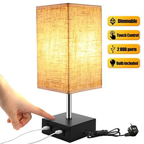 Lightess Lámpara de Mesa Táctil Lámpara Mesita de Noche LED USB Dual 3 niveles de Luminosidad Lámpara...