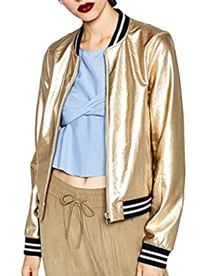 ACHICGIRL Women's Color Block Striped Metallic Bomber Jacket