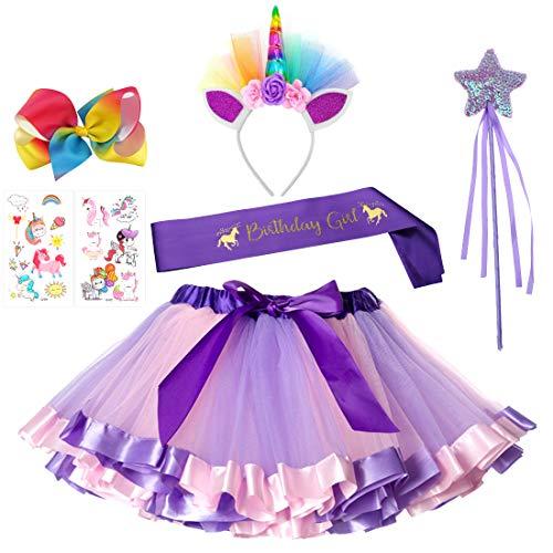 1ea9d9553 7 PCs Unicorn Rainbow Tutu Skirt Headband Birthday Girl Sash Fairy Wand for  Girls Unicorn Birthday