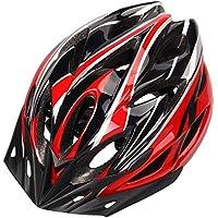 Ultralight Casco de Bicicleta Hombres y Mujeres Casco de equitación Integrado Proceso de Moldeo Múltiples Colores, Blackred