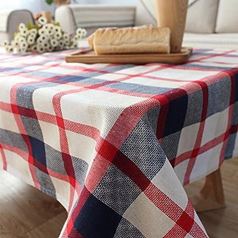 Qingv Mediterranen Garten Tischdecke Stoff Baumwolle rechteckigen Raster frischen Kaffee~ kleiner runder Tisch, Handtuch, rot, 130 * 230